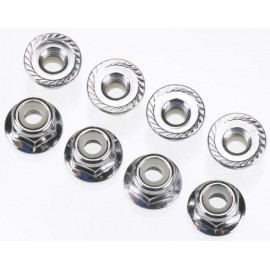 Traxxas Nuts 4mm Flanged Nylon Locking Steel (8)