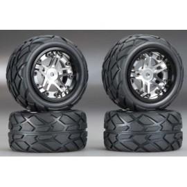 Integy Type II Billet Mach Wheel/Tire Set Silver 1/16(4