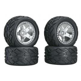 Integy Wheel/Tire Set Silver 1/16 E-Revo/Slash VXL (4)