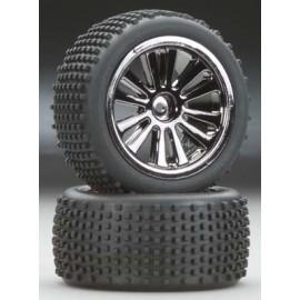 Integy Type III Whl/Tire Set BlkChrm 1/16 E-Revo VXL(2)