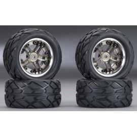 Integy Type II Billet Mach Wheel/Tire Set Gun 1/16 (4)