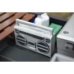 RC 1/10 Scale Silver Boombox Radio Boom Box Stereo Rock Crawler Doll Accessories