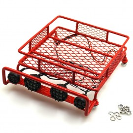 Metal Luggage Roof Rack w/ led light bar for 1/10 RC Crawlers Tamiya Axial D90