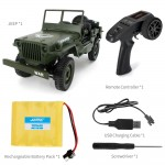 JJRC Q65 2.4G 1/10 Jedi Proportional Control Crawler Military Truck 4WD Off-Road RC Car With Canopy LED Light - Green