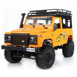 MN-90 1/12 2.4G 4WD Rc Car W/ Front LED Light 2 Body Shell Roof Rack Crawler Monster Truck RTR Toy - AMARILLO