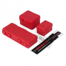 3PCS Plastic Travel Storage Box Set for 1/10 RC Crawler D90 Axial SCX10 TRX4 Car ROJO