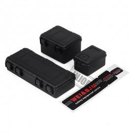 3PCS Plastic Travel Storage Box Set for 1/10 RC Crawler D90 Axial SCX10 TRX4 Car NEGRO