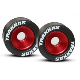Traxxas Mounted Wheelie Bar Tires/Wheels Red (2)