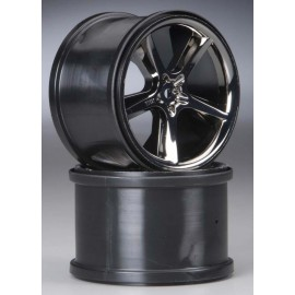 "Traxxas Gemini 3.8"" Wheels Black Chrome E-Revo (2)"
