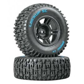 Duratrax Lockup SC Tire C2 Mounted Black Front Slash(2)