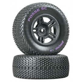 Duratrax Lockup SC Tire C2 Mounted Black Rear Slash (2)