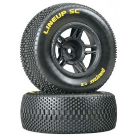 Duratrax Lineup SC Tire C2 Mounted Black Front Slash(2)