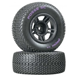 Duratrax Posse SC Tire C2 Mounted Black Front Slash (2)